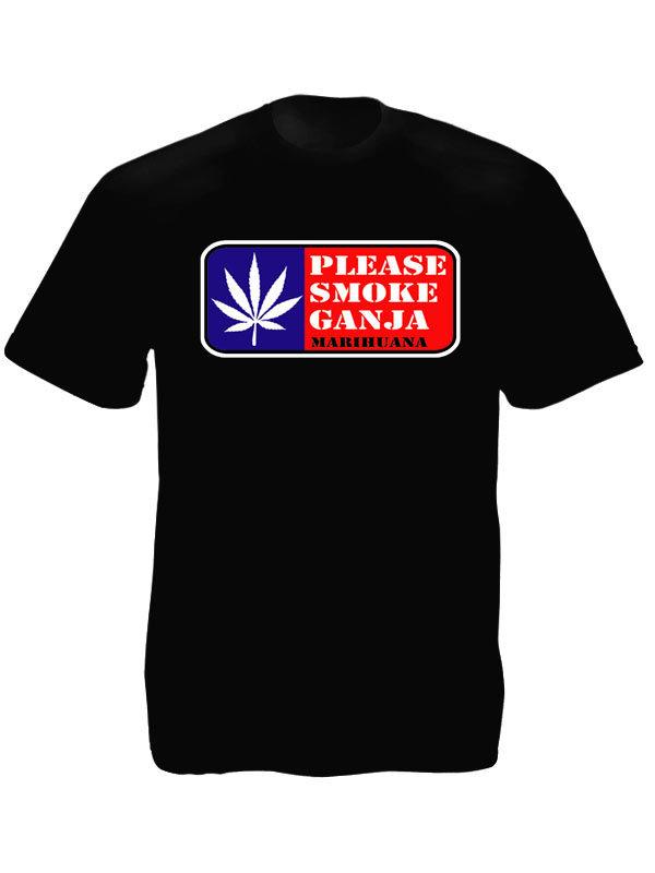 Tee-Shirt Noir pour Homme Cannabis Taille Large en Coton