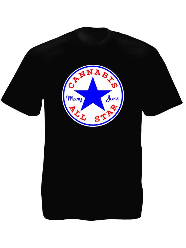 tee shirt noir homme logo etoil marque converse cannabis en coton produits. Black Bedroom Furniture Sets. Home Design Ideas