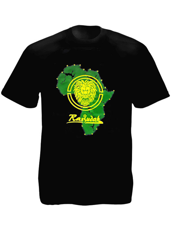 Tee Shirt Noir Lion Rastafari Africain Manches Courtes Coton