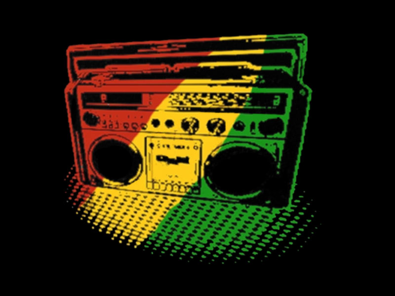 t shirt noir poste radio reggae vert jaune rouge manches courtes produits. Black Bedroom Furniture Sets. Home Design Ideas
