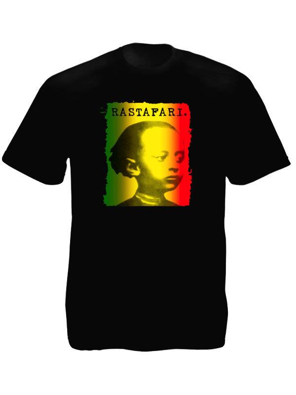 Tee Shirt Noir Spirituel Rastafari Photo Empereur Ethiopien Jeune