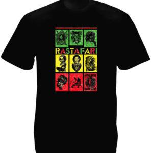 Tee-Shirt Noir Tribus Symboles Rastafari Manches Courtes en Coton