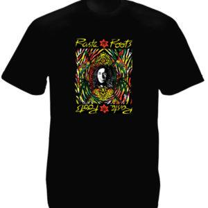 Tee Shirt Rasta Roots Vibration Couleur Noire Coton