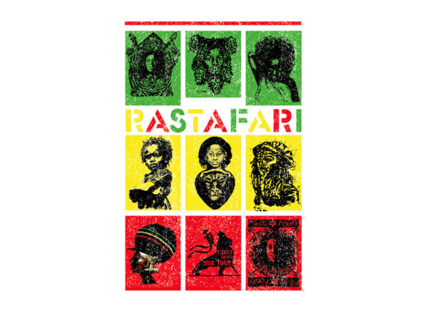 T-Shirt Tribal Blanc Figures Rastafari Manches Courtes en Coton