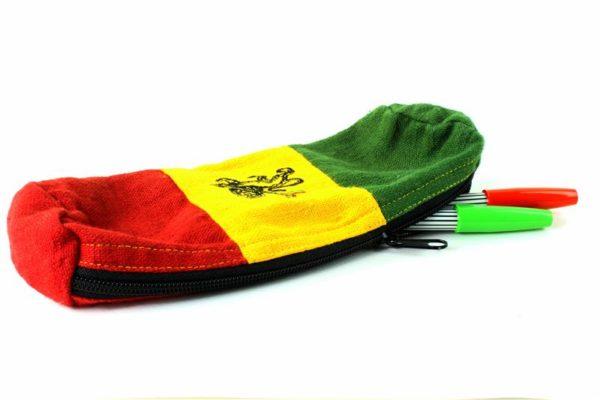 Trousse Stylo Chanvre Lion de Juda Vert Jaune Rouge