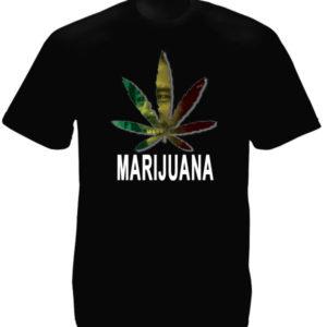 Marijuana T-Shirt Noir Manches Courtes de Reggae avec Bob Marley
