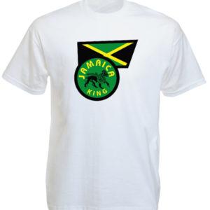 T-Shirt Blanc Manches Courtes Drapeau Jamaïcain et Lion de Juda