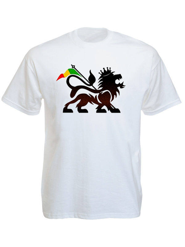 T-Shirt Blanc Manches Courtes Lion de Juda et Drapeau Rasta