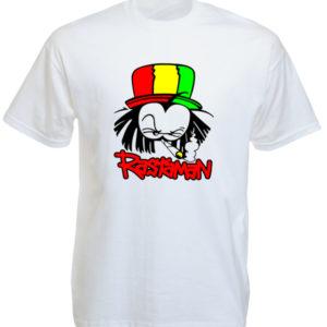 T-Shirt Blanc Manches Courtes Reggae avec Rastaman Fumeur de Cannabis