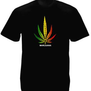 T-Shirt Noir Manches Courtes avec Logo Marijuana Vert Jaune Rouge