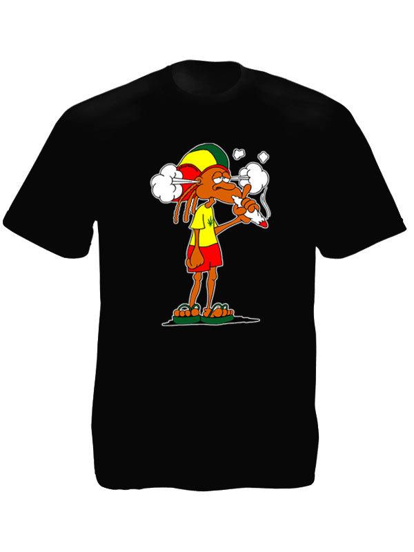 T-Shirt Noir à Manches Courtes avec un Rasta Fumeur de Ganja