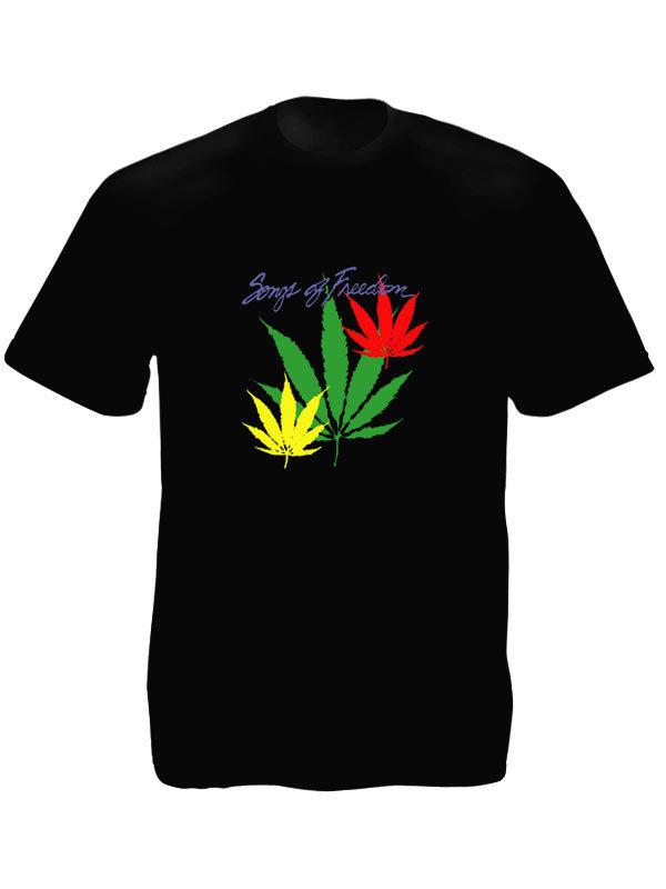 T-Shirt Noir Manches Courtes Songs of Freedom avec Feuilles de Cannabis aux Coul