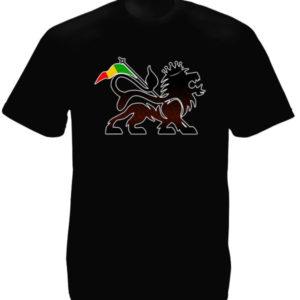 T-Shirt Noir à Manches Courtes avec Symbole Rastafari Lion de Juda Stylisé