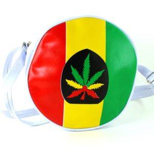 Sac Vinyl Blanc Rond Recyclable Feuille de Cannabis